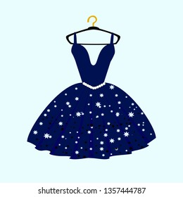 Party dress with fancy on mannequin. Illustration on white background.