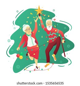 Party elderly people. Grandma and granddad dancing in front of the Christmas tree. New year celebration. Vector illustration.