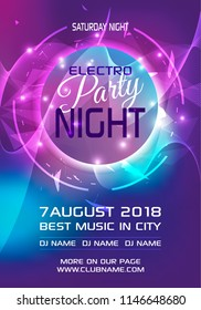 Party electro night colorful flyer template vector in blue and violet color