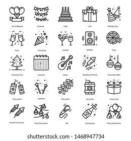 Party Elements Line Icons Pack