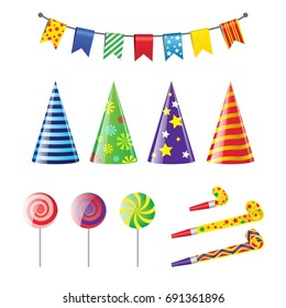 Party Elements - realistic modern vector set of different holiday objects. White background. Clip art for birthday invitation, card design. Colorful flags, banners, pointed hats, lollypop, whistle.