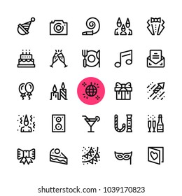 Party, entertainment, celebration line icons set. Modern graphic design concepts, simple outline elements collection. 32x32 px. Pixel perfect. Vector line icons