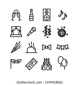 Party entertainment, event organisation, celebration and banquet icons. Vector set of line symbols.