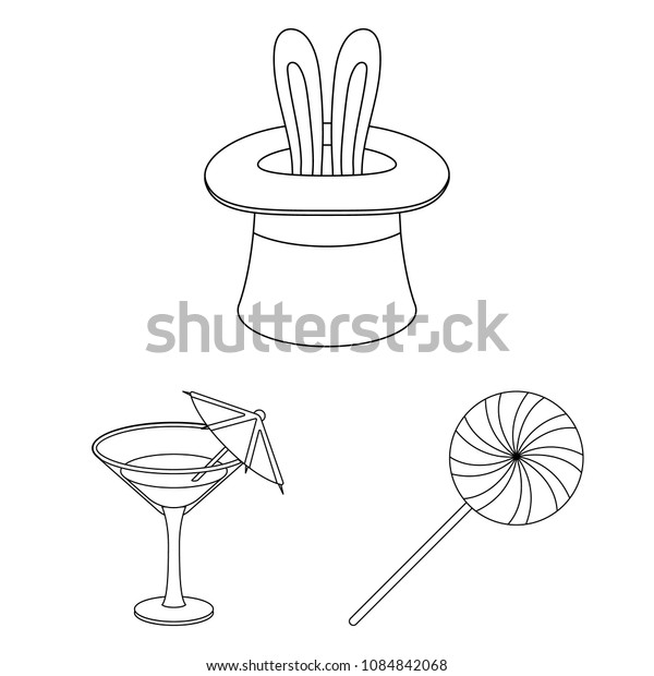 Party, entertainment outline icons in set collection for design. Celebration and treat vector symbol stock web illustration.