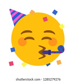 Party face emoji vector
