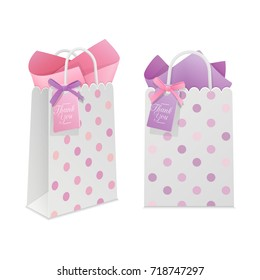 party favor gift white paper bags with pink and purple bows and tags isolated on white background. 3d realistic vector illustration