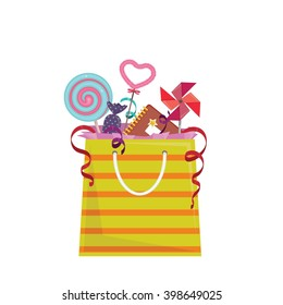 Party favor goodie bag with stuff inside. Isolated vector element