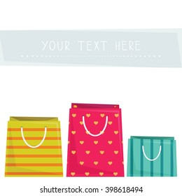 Party favor goodie bags. Set of three colorful bags with text space. Vector illustration