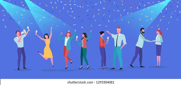 Party festive poster with happy people and confetti. Corporate, birthday, new year, friends meet, disco. Flat style design. Vector background.