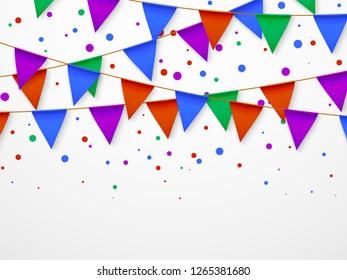 Party flag garland with confetti. Kids birthday, circus carnival fiesta invitation vector retro background
