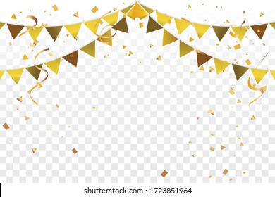 Party Flag Golden Tiny Confetti And Streamer Ribbon Falling On Transparent Background. Vector
