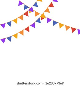 Party Flags Background on white. good for cards banners design template. copy space