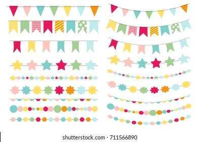 Party Flags, Buntings for Creating a Party Invitation or Card. Vector Illustration EPS10