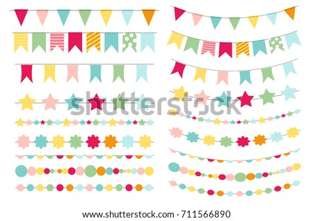 party flags buntings creating party invitation stock vector royalty
