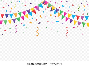 Party Flags with Confetti And Ribbons on transparent background, buntings garlands vector