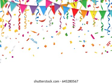 Party flags with confetti and streamer. Vector illustration.