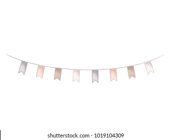 Party flags. Holiday string hand dravn illustration. Vintage festival decoration isolated on white background.