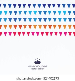 Party Flags Set of white background. Vector festive illustration