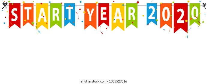 Party Flags Start New Year 2020 - Colorful Vector Illustration - Isolated On White Background