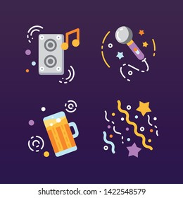 Party flat icons set. Celebration symbols: music, microphone, beer, confetti concept. Greeting. Night life. Signs for web page, mobile app, banner, social media.
