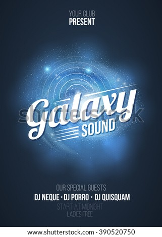 party flyer background galaxy sound party stock vector royalty free