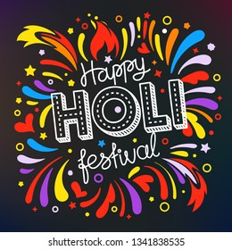 Party flyer frame template. Holi festival vector banner