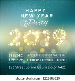 Party flyer with golden text 2019 NYE (New Year Eve). Creative template, banner, flyer or invitation design. Vector illustaration.