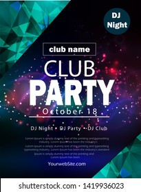 party flyer poster. Futuristic club flyer design template