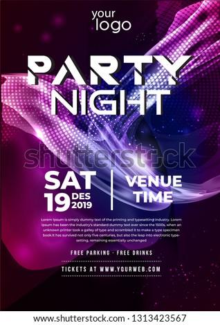 Party Flyer Poster Futuristic Club Flyer Image Vectorielle De Stock