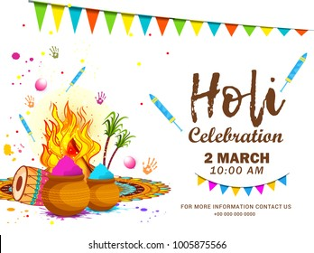 Party Flyer Or Poster For indian Festival Of Holi.