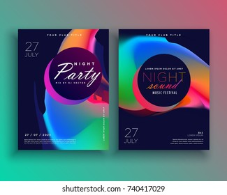 party flyer template design with vibrant color abstract shape