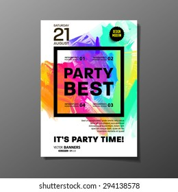 Party Flyer Template. Vector Design. Abstract Paint Colorful Background.