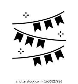 Party garland black glyph icon. Carnival fair. Hang festive flags. Pennant for summer holiday. Celebrate birthday and anniversary. Silhouette symbol on white space. Vector isolated illustration
