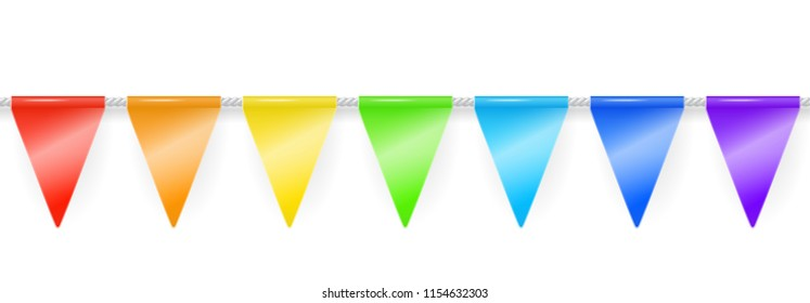 Party garland of rainbow colored triangle flags. Vector seamless illustration