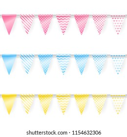 Party garlands. Set of seamless banners of triangle flags