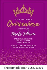 Quinceañera party for girl 15 years vector printable invitation card with golden glitter elements