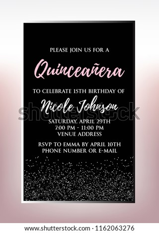 Quinceanera Party For Girl 15 Years Vector Printable Invitation Card With Golden Glitter Elements