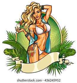 Party girl in bikini with cocktail. Label with ribbon banner.