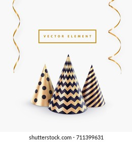 Party hat or abstract Christmas tree and streamers vector template for Christmas party banner or happy birthday greeting card. Holiday background