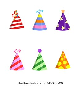 Party hat cone with white circles collection. Accessory, symbol of the holiday. Birthday Colorful Caps set. Vector illustration