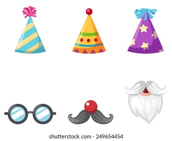 Party hat and glasses and mustache isolated vector illustration