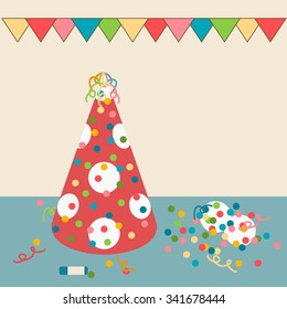 Party hat on a background of confetti and garlands of flags. Vector illustration.
