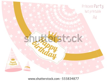Party Hats V Printable Pink Gold Stock Vector Royalty Free