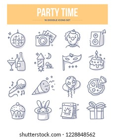 Party and holiday related doodle icons. Vector illustrations of celebration for website and printing materials
