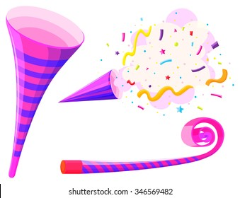 Party horn and musical straw illustration
