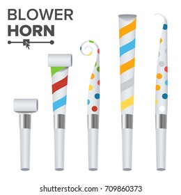 Party Horn Set Vector. Color Penny Whistle. Top View. Isolated