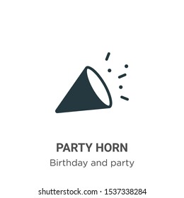 Party horn vector icon on white background. Flat vector party horn icon symbol sign from modern birthday and party collection for mobile concept and web apps design.