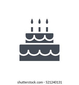 Party Icon Solid Glyph Birthday Cake silhouette