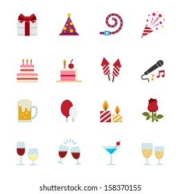 Party Icons and Celebration Icons with White Background