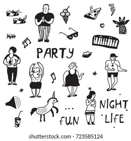 Party icons doodle set, funny design, vector graphic illustration